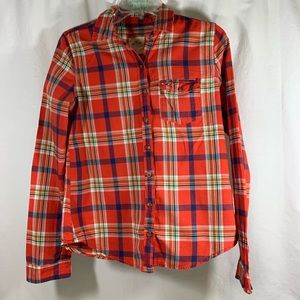 Women's Red Plaid Hollister Button Down
